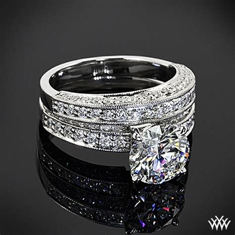 18k white gold with platinum quot three side pave