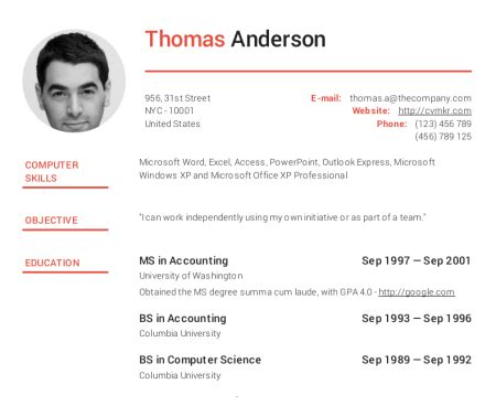 Curriculum Vitae Cv Maker by Create Professional Resumes For Free Cv Creator