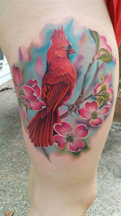 cardinal rose tattoo pink flowers and cardinal on thigh