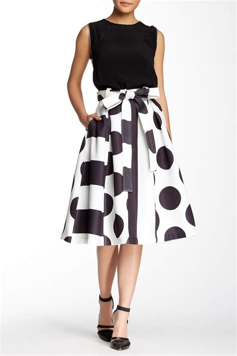designer pleated swinging skirt w attached knitted sash