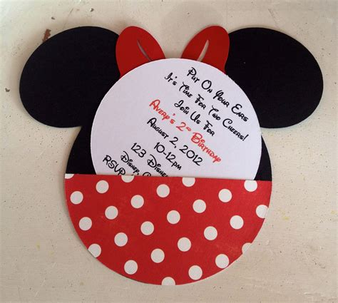 handmade custom minnie mouse birthday invitations set of