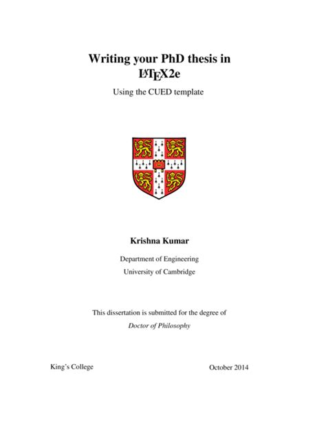 Phd Dissertation Template by Cambridge Engineering Department Cued Phd Thesis Template Template