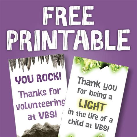 free printable thank you cards for volunteers 17 best images about cave quest vbs on pinterest rocks