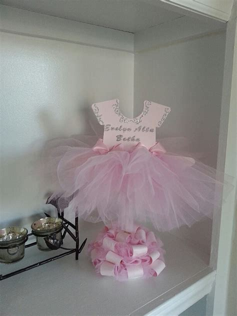 Ballerina Baby Shower Centerpieces by Sided Personalized Pink Tutu Dress Centerpiece