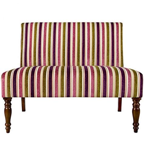 purple upholstered bench upholstery armless loveseat bench settee stripe fabric