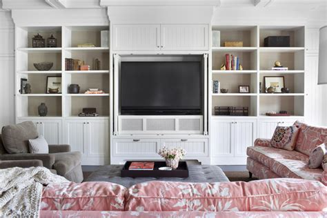 family room bookshelf with built in cabinets bookshelf tv built ins transitional living room burnham design