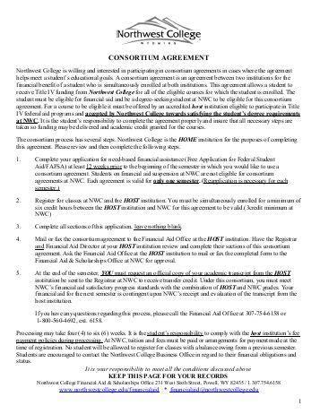 consortium agreement template cwi csi boise state consortium agreement financial aid
