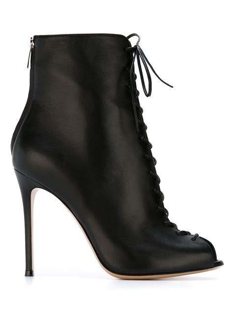 lace boots gianvito lace up ankle boots in black lyst