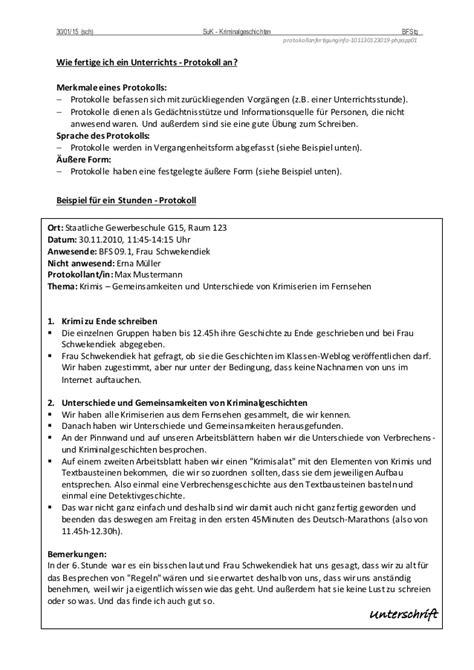 Unterrichtsprotokoll Schreiben Muster Protokollanfertigung Info