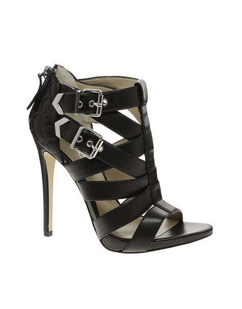 aldo black leather strappy sandal heel lyst aldo kabinda strappy heeled sandals in black