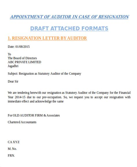 appointment letter format statutory auditor appointment letter format of auditor 28 images 28