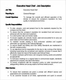 Chef Duties And Responsibilities by Sle Executive Chef Description 9 Exles In Pdf