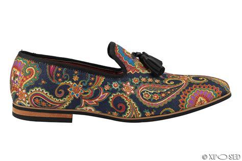 designer loafer shoes mens leather tassel loafer vintage designer style paisley