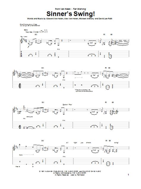 Sinner S Swing By Van Halen Guitar Tab Guitar Instructor