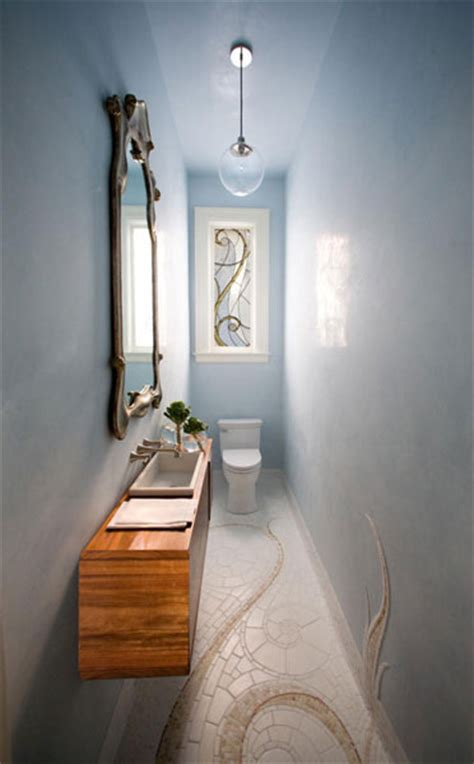 narrow powder room narrow powder room eclectic bathroom marsh and clark
