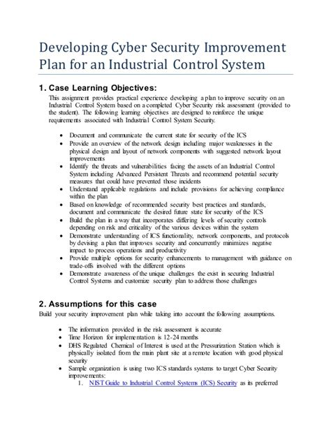 developing ics cyber security improvement plan 5