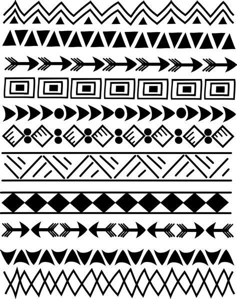 tribal indian pattern 11 indian tribal borders 8 5 doodle clip art set