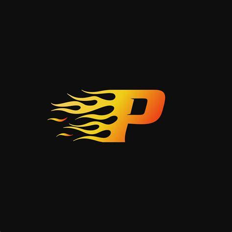 letter p burning flame logo design template