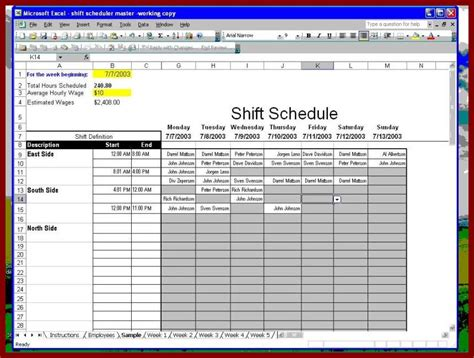 excel employee schedule template shift schedule template permalink to excel employee work