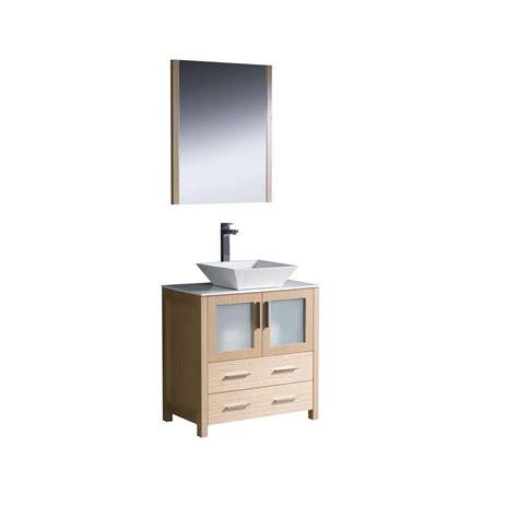 Oak Vanity Light Fresca Torino 30 In Vanity In Light Oak With Glass Vanity Top In White With White Basin