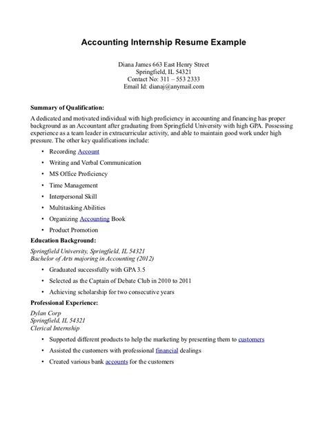 Resume Sle For Accounting Students With No Experience Best Objective For Resume For Internship