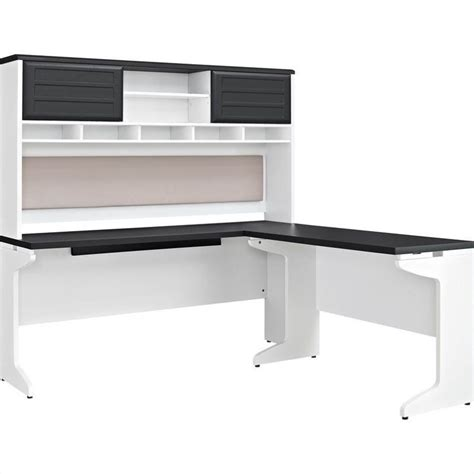 White L Shaped Desk With Hutch L Shaped Desk With Hutch In White And Gray 9849296