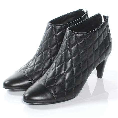 fashionphile chanel leather quilted ankle cap toe boots