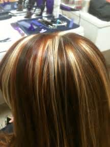 tri colored hair tri colored highlights copper and highlights