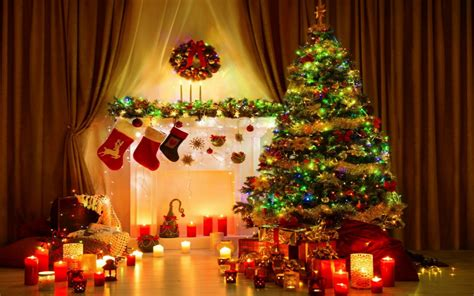 christmas tree with house wallpaper ornaments wallpaper for desktop 80 images