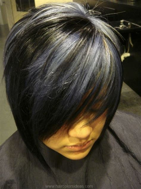black hair with grey streaks grey highlights on dark hair cynthia blue black hair