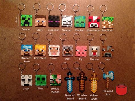 minecraft perler minecraft keychains magnets pins and charms from perler
