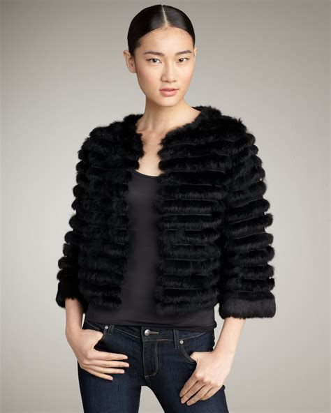 Cropped Fur Jackets by Honor Cropped Fur Jacket In Black Lyst