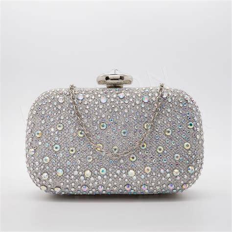 140 Clutch Silver nuovi donna argento diamante pochette festa sera nuziale