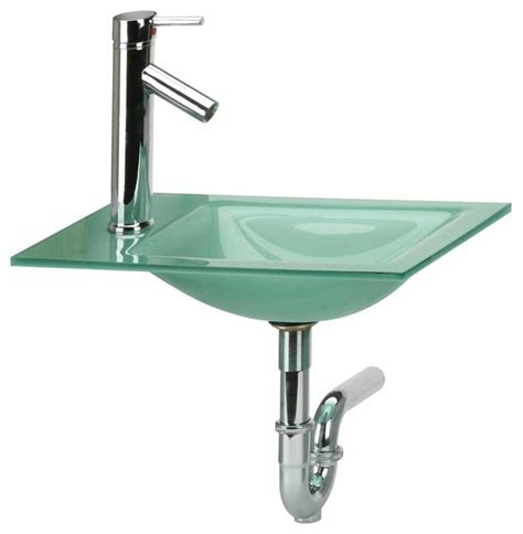 p trap bathroom sink counter sinks green frosted glass square sink faucet p
