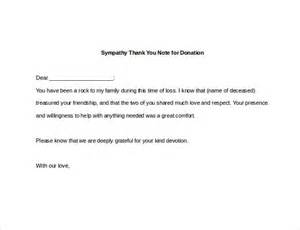 Donation Condolence Letter 6 Sympathy Thank You Notes Free Sle Exle Format Free Premium Templates