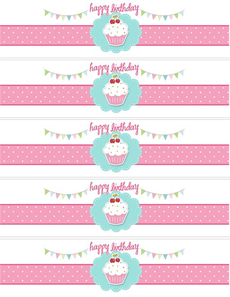 free printable water bottle label template cupcake themed birthday with free printables