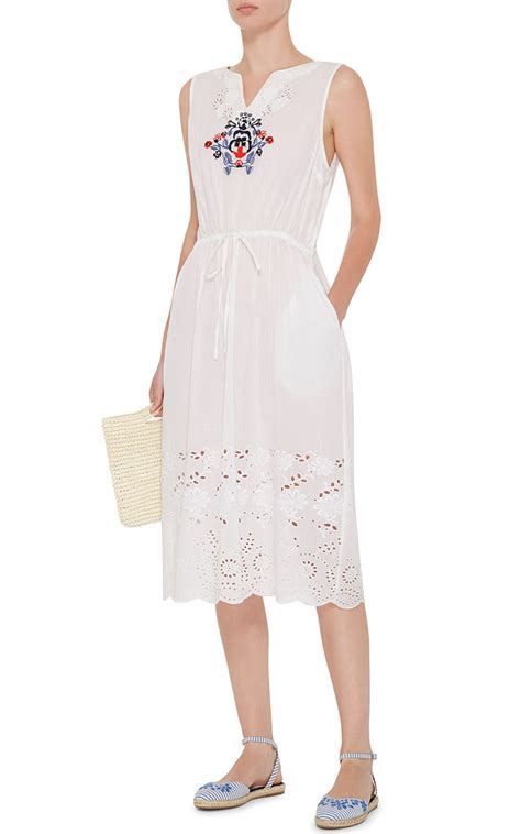 Dress Of The Day White Hoodie Dress by Suno White Cotton Embroidered Dress With Eyelet Detail In