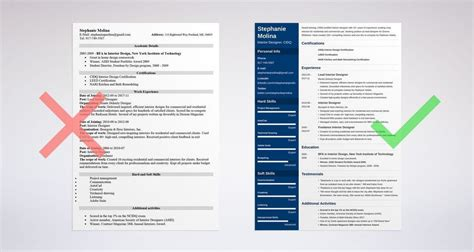 Resumes For Interior Designers by Interior Design Resume Sle And Complete Guide 20