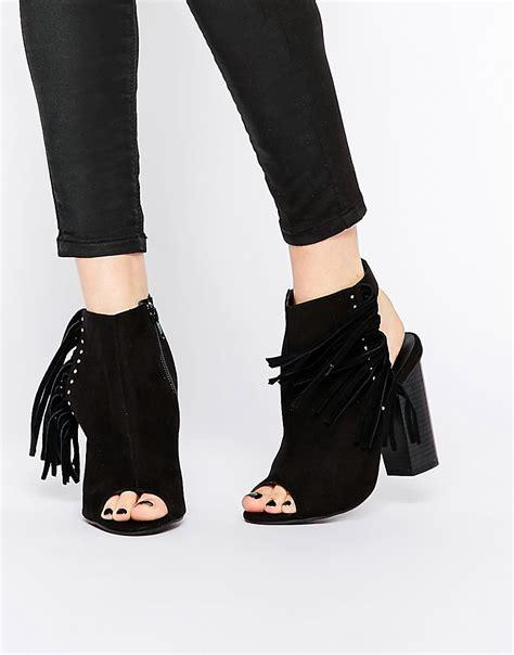 new look new look peep toe heeled fringed shoe boot at asos