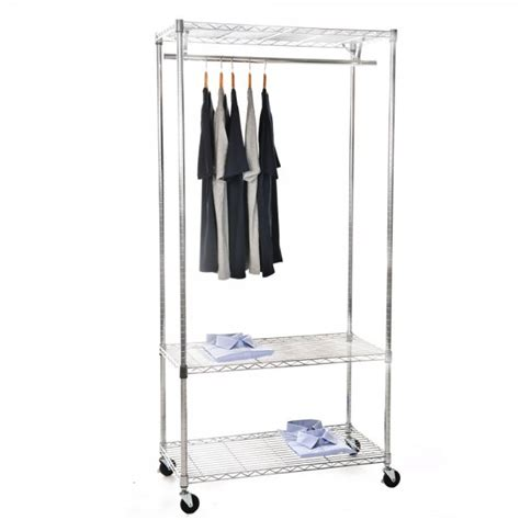 chrome clothes rack with wheels 900mm wide 3 shelves