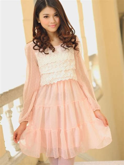 sweet models sweet girls polka dots hook flower round collar slim dress