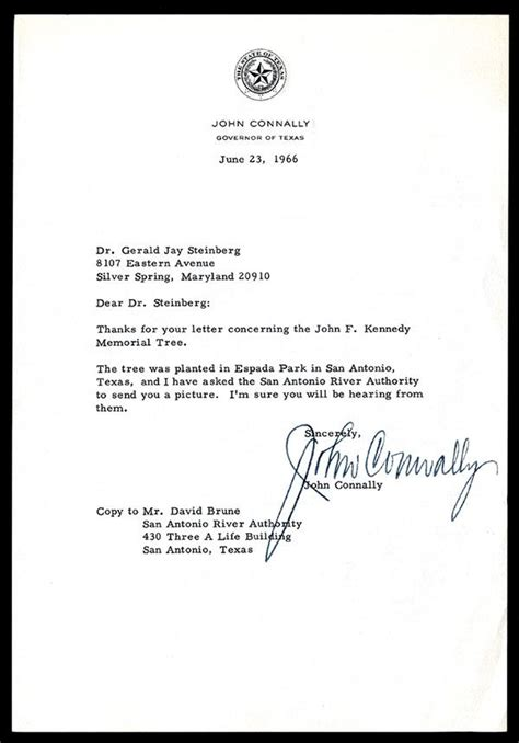 State Bank Letterhead Connally Typed Letter Signed And On Governor Of Letterhead 1966