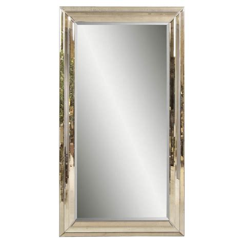 shop bassett mirror company rosinna antique mirror beveled floor mirror at lowes com