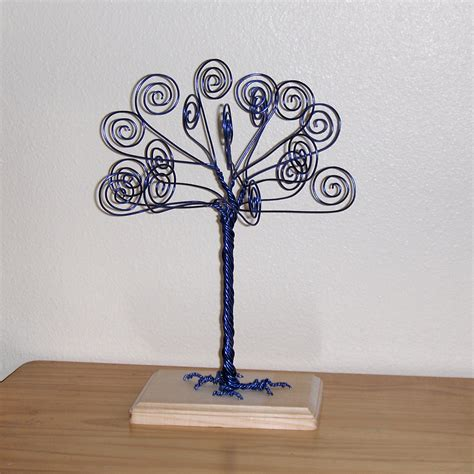 wire card holder blue wire tree business card holder photo by twystedwyres