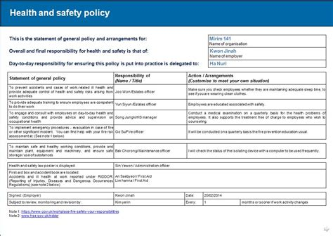 annual health and safety report template 6 1 rist assessment report health and safety