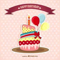 birthday card with cake vector free