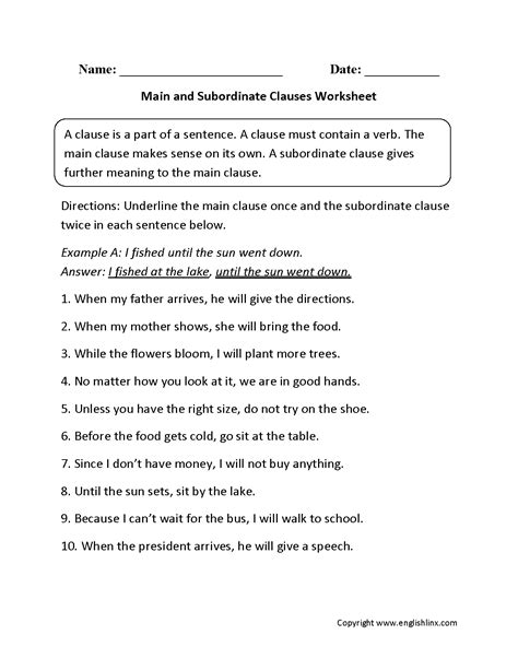 Noun Mba Course Outline by Dependent Independent Clauses Worksheet Worksheets For All