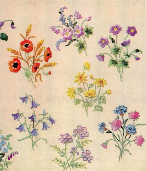 flower pattern embroidery design vintage embroidery 1950 april 20 wild flowers and flower