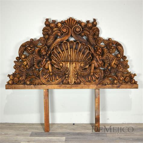 wood carved headboards carved wood headboard custom belgium linen headboard with carved wood panel at 1stdibs