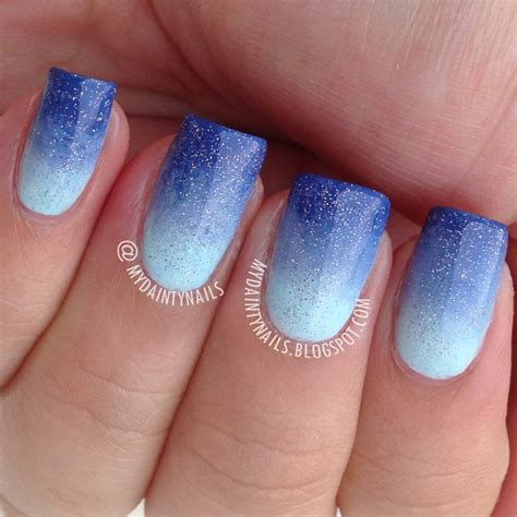 blue ombre nails my dainty nails blue gradient ombre nails